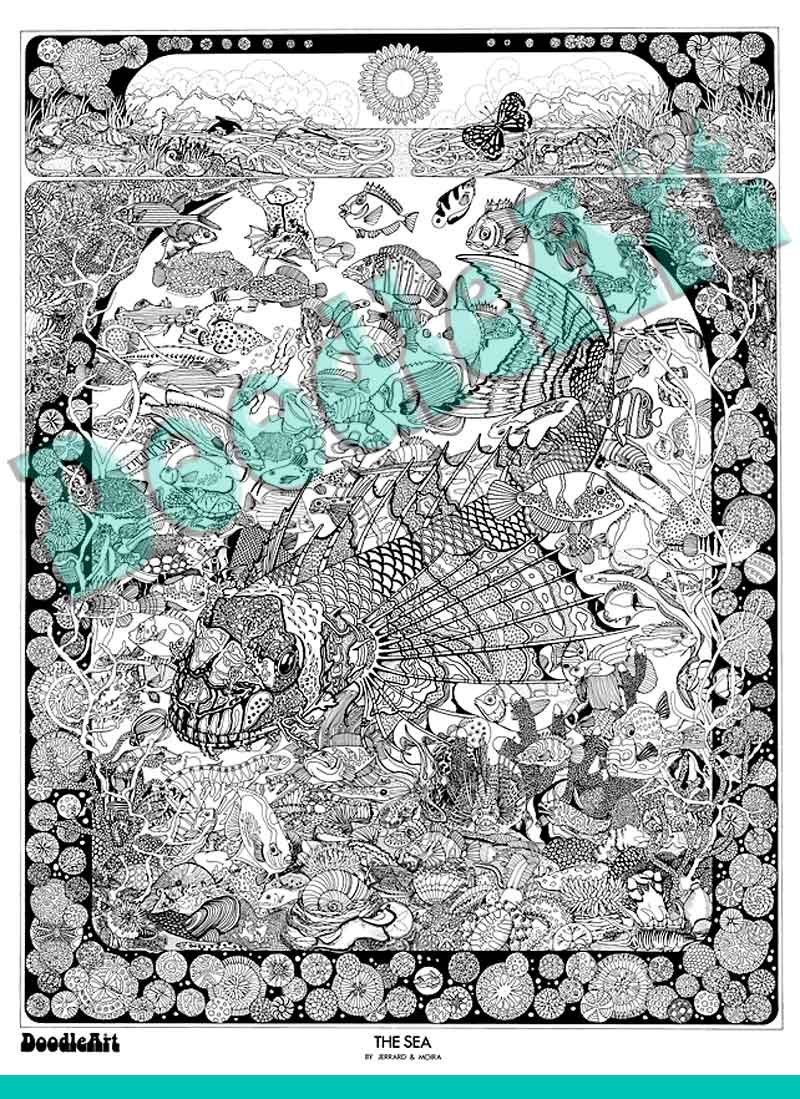 Doodleart The Sea Adult Coloring Poster Toy Sense