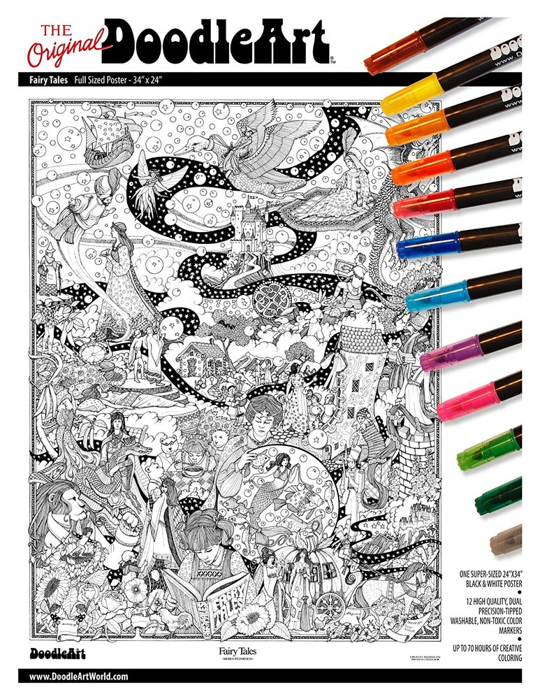 DoodleArt Fairy Tales Adult Coloring Poster - Toy Sense