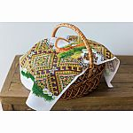 Easter Basket Cover gold, multicolour basket with eggs