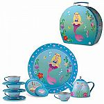 Beautiful Mermaid Tin Tea Set With Case