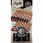 2-In-1 Magnetic Folding Peach Wood Chess & Checkers