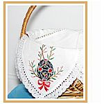 Easter Basket Cover 4 Corners Linen with Embroidery