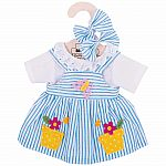 "Blue Striped Rag Doll Dress for 13"" Doll"