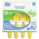 Green Eats Feeding Spoons and Forks - Yellow