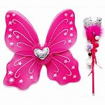 Dark Pink Heart Wings and Wand Set