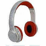 Bluetooth Bling Headphones - Silver/Red