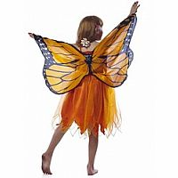 Dreamy Dress-ups Dress with Orange Monarch Wings - Medium